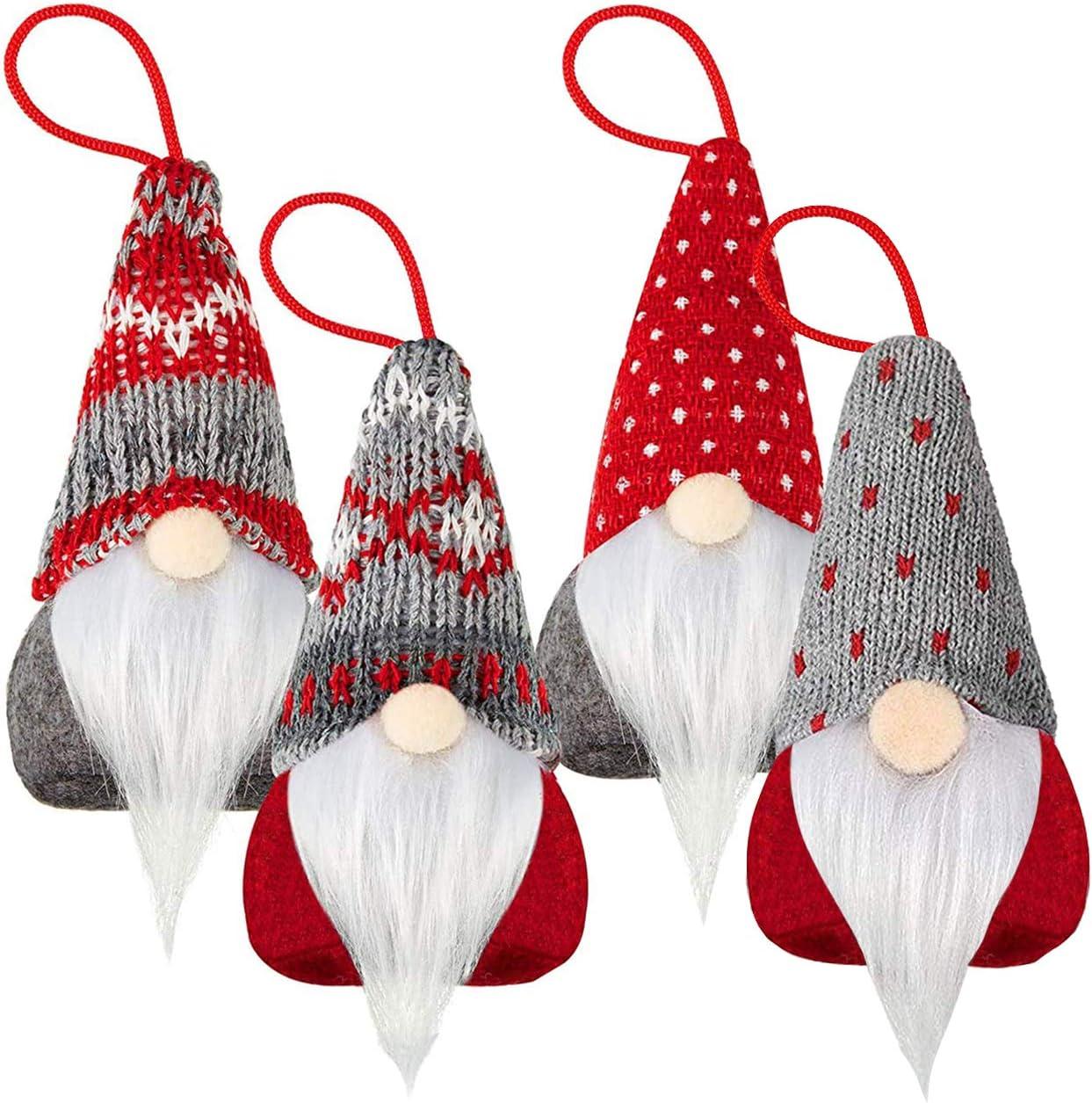 UMEELR Gnome Christmas Decorations, Handmade Swedish Tomte Xmas Gnome Faceless Plush Doll Pendant, Scandinavian Santa Elf Hanging Ornaments for Christmas Tree Holiday Fireplace Home Decor 4 Pack