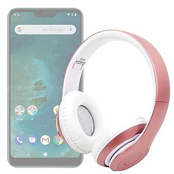 DURAGADGET Auriculares Plegables inalámbricos en Color Rosa para Smartphone DOOGEE X55, Ulefone S8 Pro,