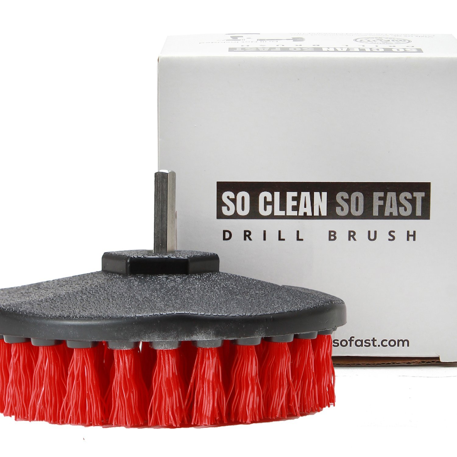 Drill Brush Heavy Duty – Clean Tile & Grout 5X faster – Spin Away Rust, Soap Scum, Mineral Deposit, Hard Water Stain – 5″ Diameter Stiff Red Nylon Bristle with Metal Shaft Attachment