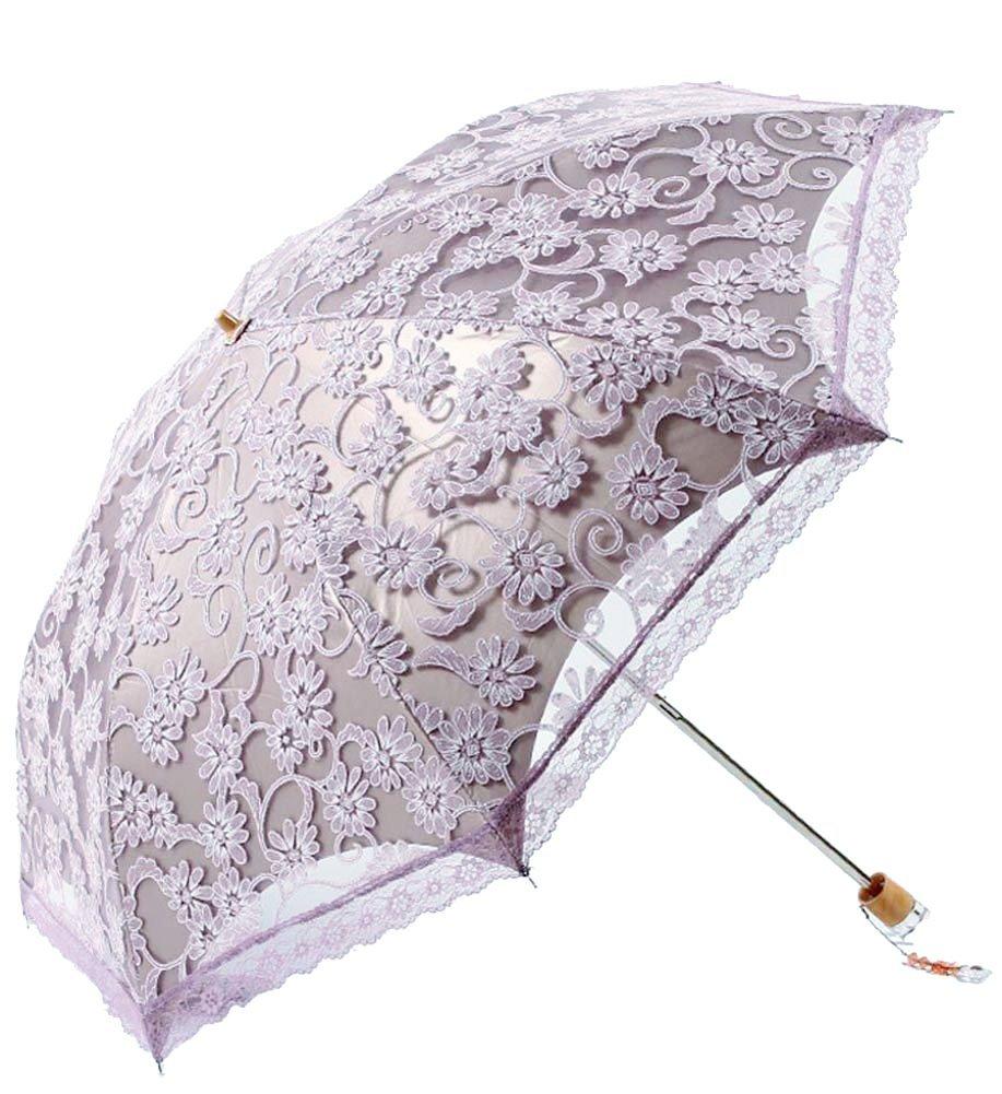 Honeystore Lace Travel Parasol Twice Folding Anti-uv Sunshade Windproof Umbrella Grey