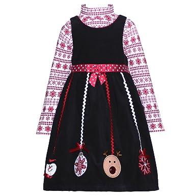 8d4e0f8fecf67 Amazon.com: Bonnie Jean Girls 2T Black Corduroy Snowflake Christmas ...
