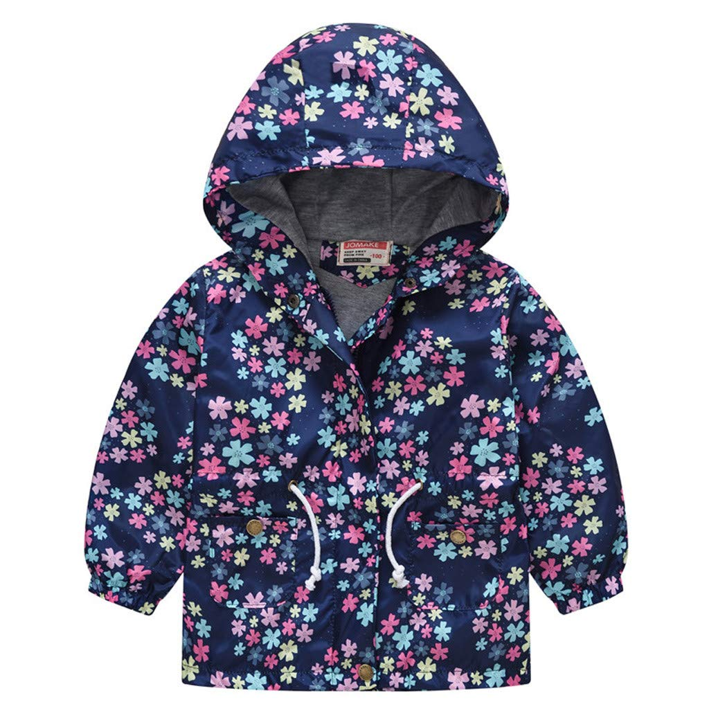 WARMWORD Kids Boys Grils Cartoon Hooded Zip Jackets Windbreaker Coat for Toddler Lightweight Outwear