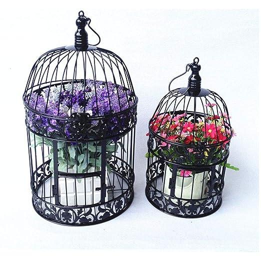 jaula Soporte de Flores Redondo pájaros, decoración de Hierro ...