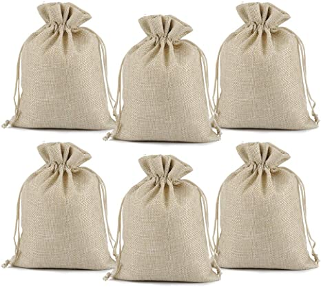 ALL in ONE Burlaps Drawstring Bags for Jewelry Wedding Gift Christmas DIY Craft 4x6 inch 25pcs