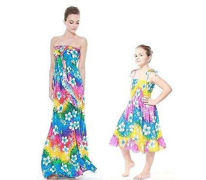 5a7886e42d382 Correspondance mère et Fille Hawaii Luau Robe Robe élastique Fille en Arc  en Ciel 12 M