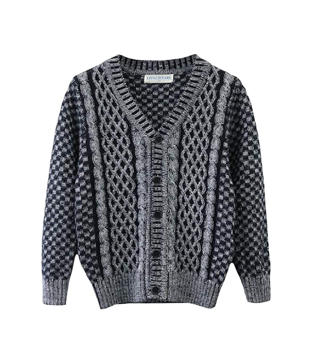 Wofupowga Boys Thickened Knit Cute Cable Coat Girl Jumper Cardigans