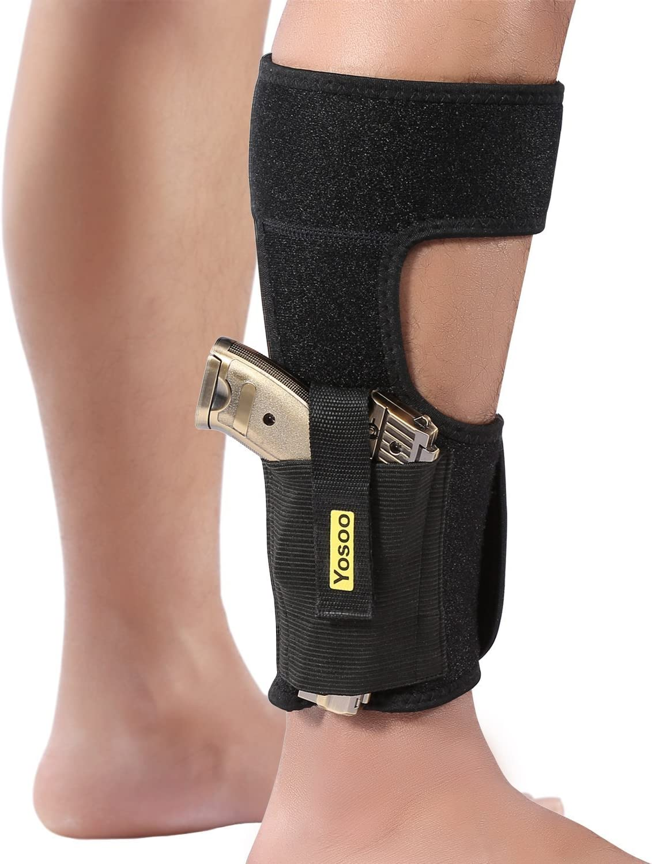 GLOGLOW - Funda para tobillo, funda para pistola con empuñadura para pistola negra universal oculta con funda para cargador apta para Glock 42 43 27 19