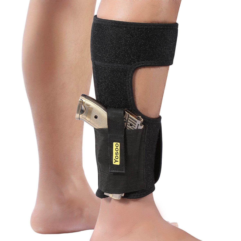 Funda de pierna para llevar encubierto cinturón elástico de neopreno funda de tobillo con bolsillos de revista para pistola de marco pequeño,se adapta a hombres y mujeres, negro ZJchao