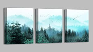 Canvas Wall Art Fresh Fog Forest Modern Nature Wall Decor for Bedroom Bathroom Living Room Stretched and Framed Ready to Hang 12x16 Each Panel