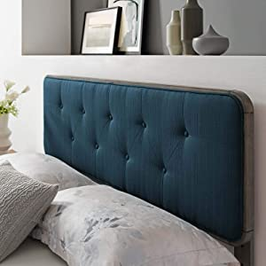 Modway Collins Tufted Fabric and Wood Full Headboard in Gray Azure