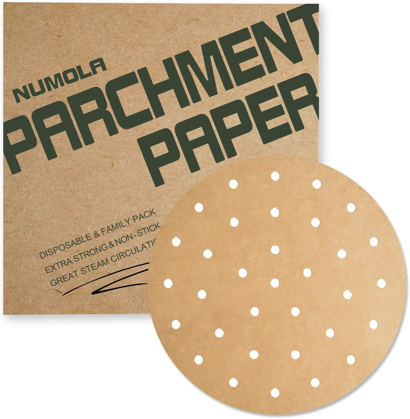 Numola 7 Inch Air Fryer Liners, 100 PCS Perforated Parchment Paper Compatible with COSORI, GoWISE USA, Instant Vortex, Ninja, Ultrean, Chefman, Innsky, Dash and More 3.4-3.7qt Air Fryers(Unbleached)