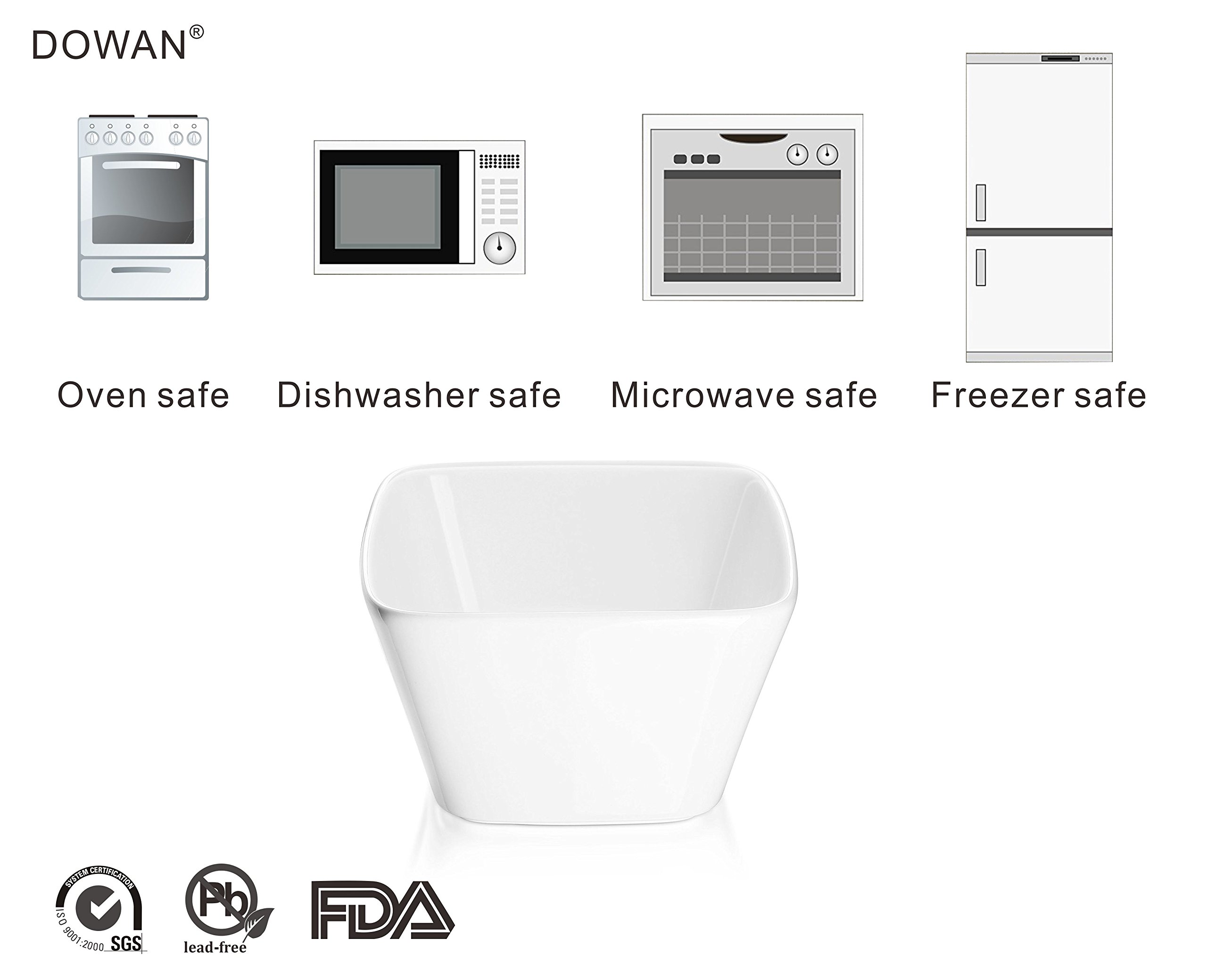 DOWAN 20 Ounce Porcelain Square Cereal Bowls - 6 Packs ,White by DOWAN (Image #5)