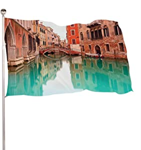 Dxichy Venice,Decoration Indoor and Outdoor BannerThe Banquet Large Canal with Bridge Detail.Long Exposure graphy. 3x5 Ft