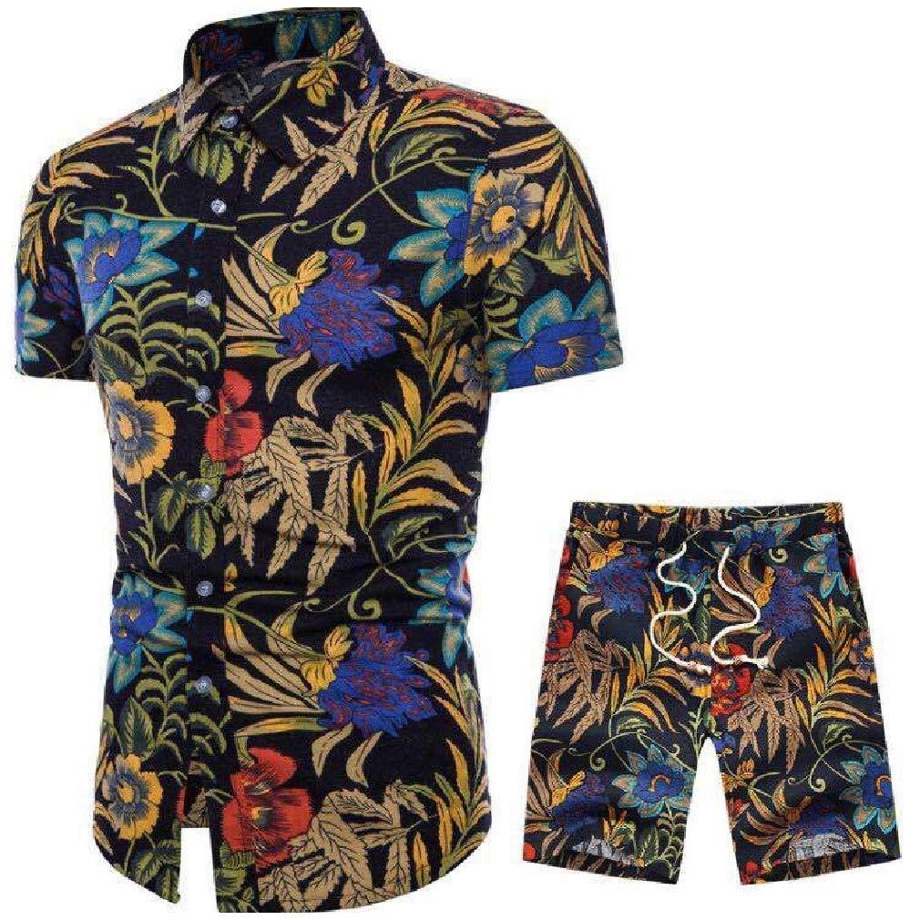 Mfasica Men Beach Shorts Short-Sleeve Printed Hawaii 2 Pieces Shirt