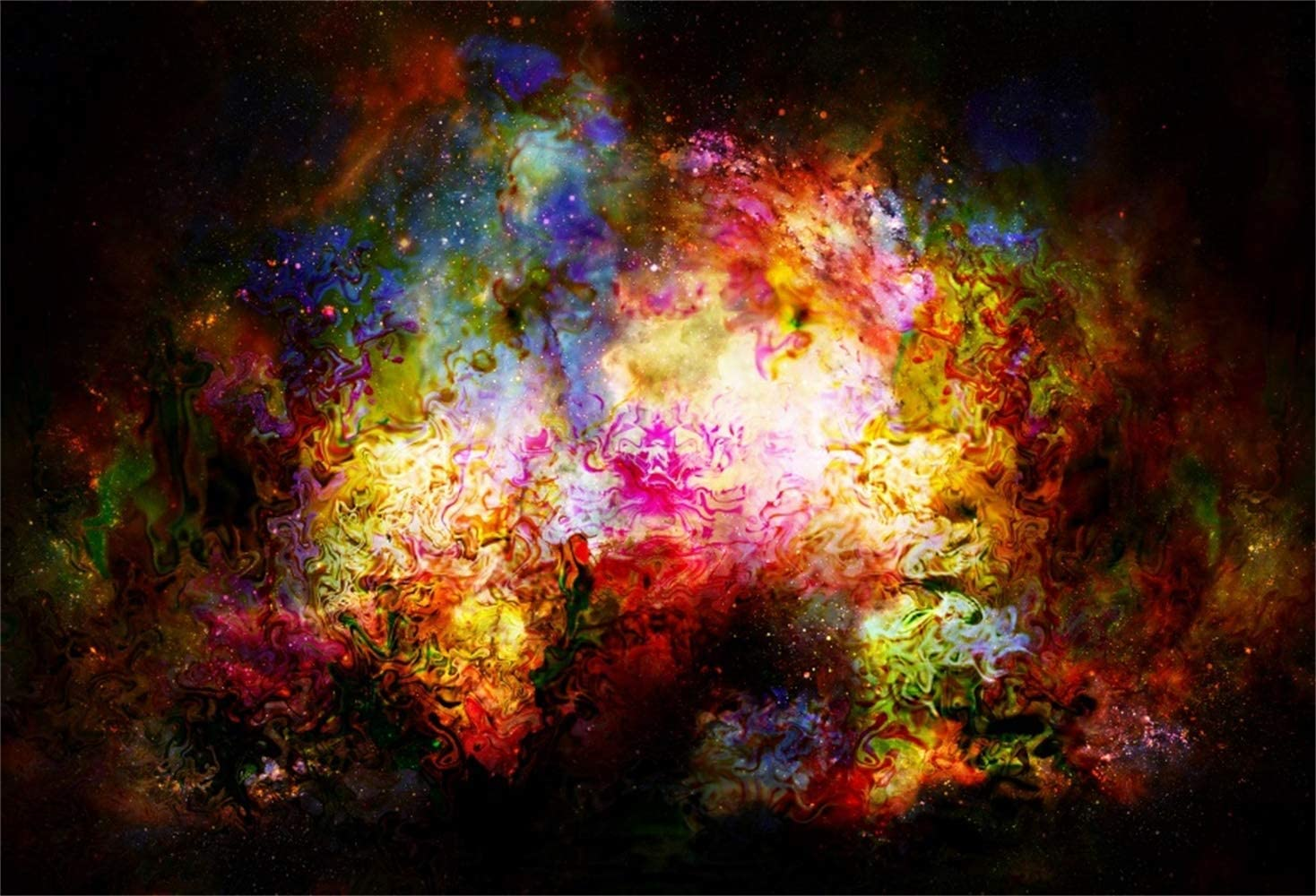 Dreamy Abstract Nebula Backdrop 8x6.5ft Polyester Mysterious Universe Outer Space Grunge Colorful Starry Sky Neon Background Dreamland Child Kids Adult Portrait Shoot Studio Props Wallpaper