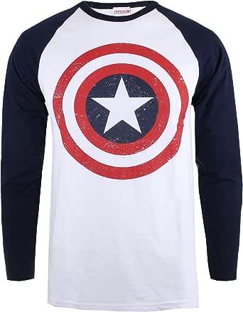 Marvel Camiseta Manga Larga Capt America Shield Blanco/Azul Marino ...