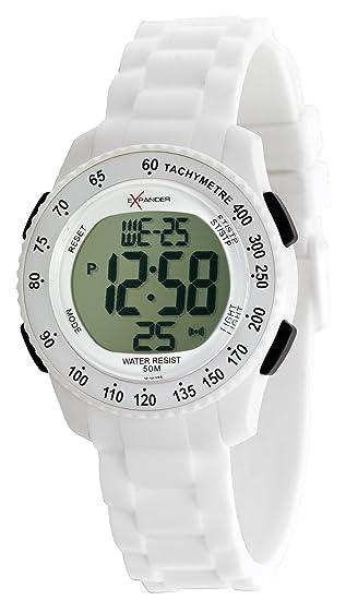 SECTOR Sector - Reloj digital de cuarzo unisex con correa de silicona, color blanco: Amazon.es: Relojes