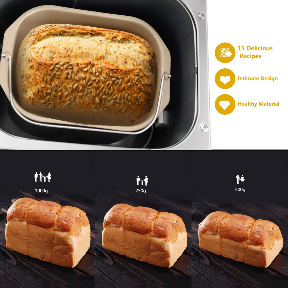 COSTWAY Automatic Bread Maker Stainless Steel Programmable Multifunctional Bread  Machine with 15 Programs, 3 Loaf Sizes, 3 Crust Colors, 15 Hours Delay ...