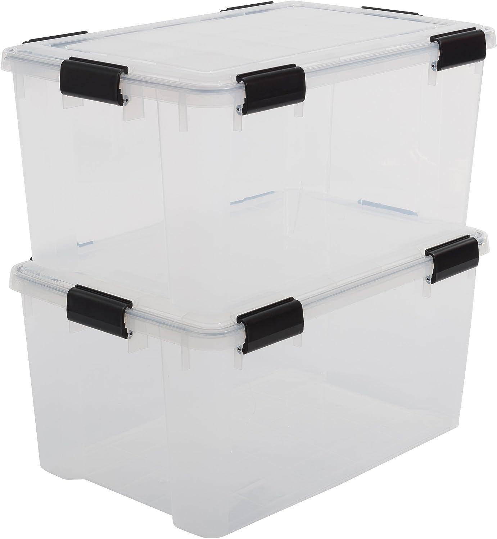Iris Ohyama, lote de 2 latas herméticas de almacenamiento - Air Tight Box - AT-L, plástico, transparente 50 L, 59 x 39 x 29 cm