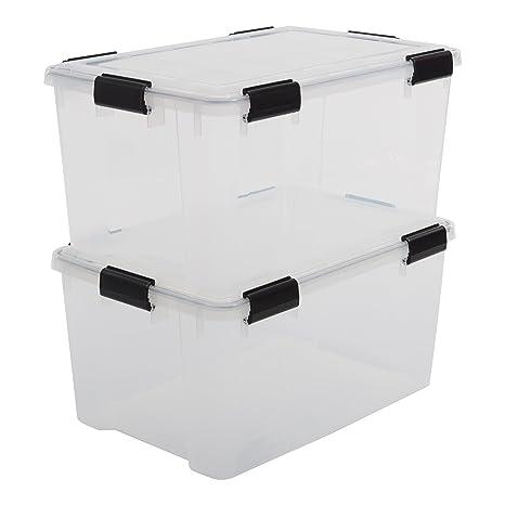 Iris Ohyama 135454 AT-L - Lote de 2 cajas de almacenamiento, plástico transparente