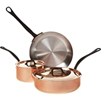 Mauviel M'Heritage M150C 6450.01-5 Piece Copper Cookware Set with Cast Stainless Steel Iron Eletroplated Handle Set…