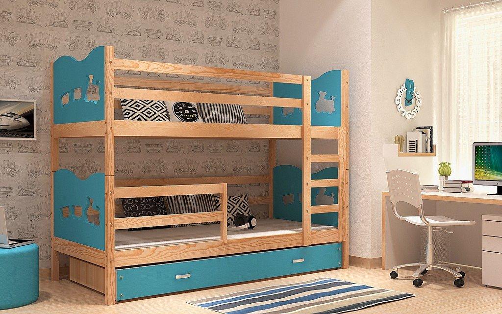 Etagenbett Quba 3 : Holz etagenbett bed solid kiefer wood storage matratzen blau zug