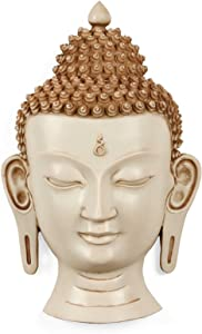 CraftVatika 15 Inches Large Head Buddha/Bust Buddha Wall Hanging/Wall Mask Sculpture/Wall Mount/White Nepal Buddhism Office, Decor Gifts