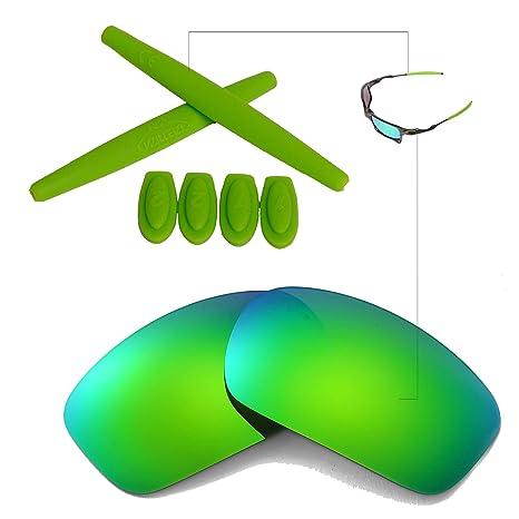 11b39c51670 Amazon.com  Walleva New Polarized Emerald Lenses And Emerald Earsocks For  Oakley X Squared  Sports   Outdoors