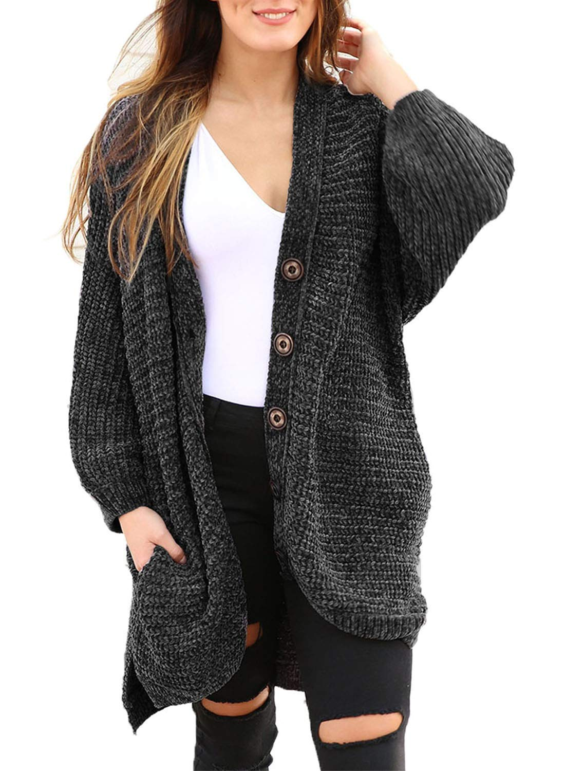 3fa45effcd46a Sidefeel Women Button Down Sweater Coat Casual Open Front Oversized Cardigan  Outwear X-Large Dark Grey