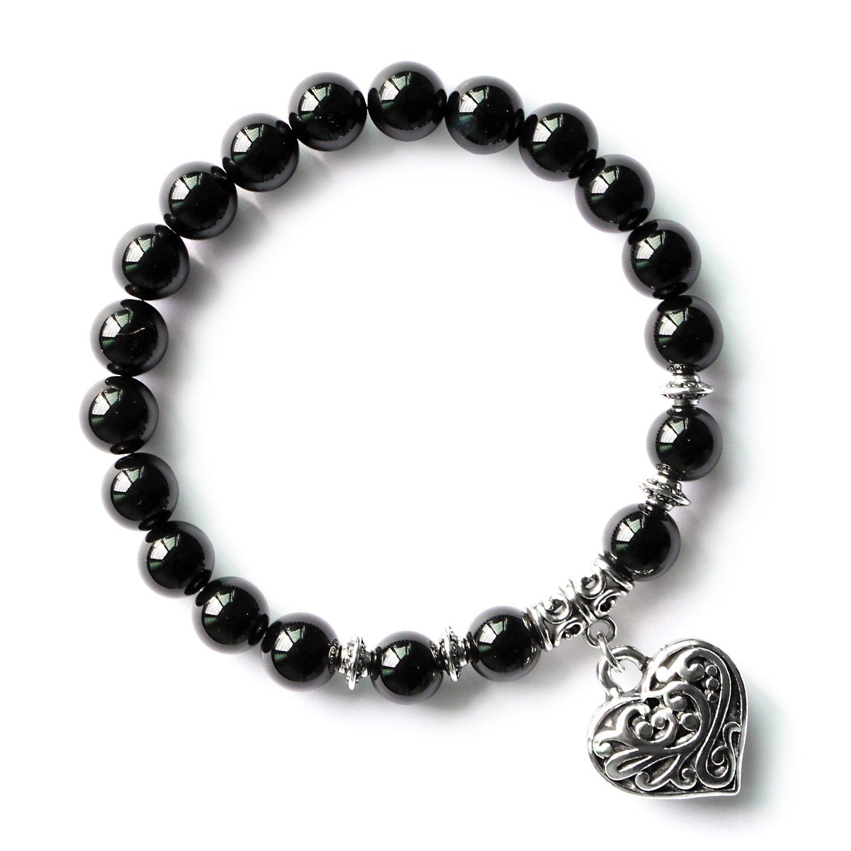 MHZ JEWELS Black Onyx Agate Natural Healing Stone Heart Beaded Bracelet Stretchy Charm Beads Bracelet for Women