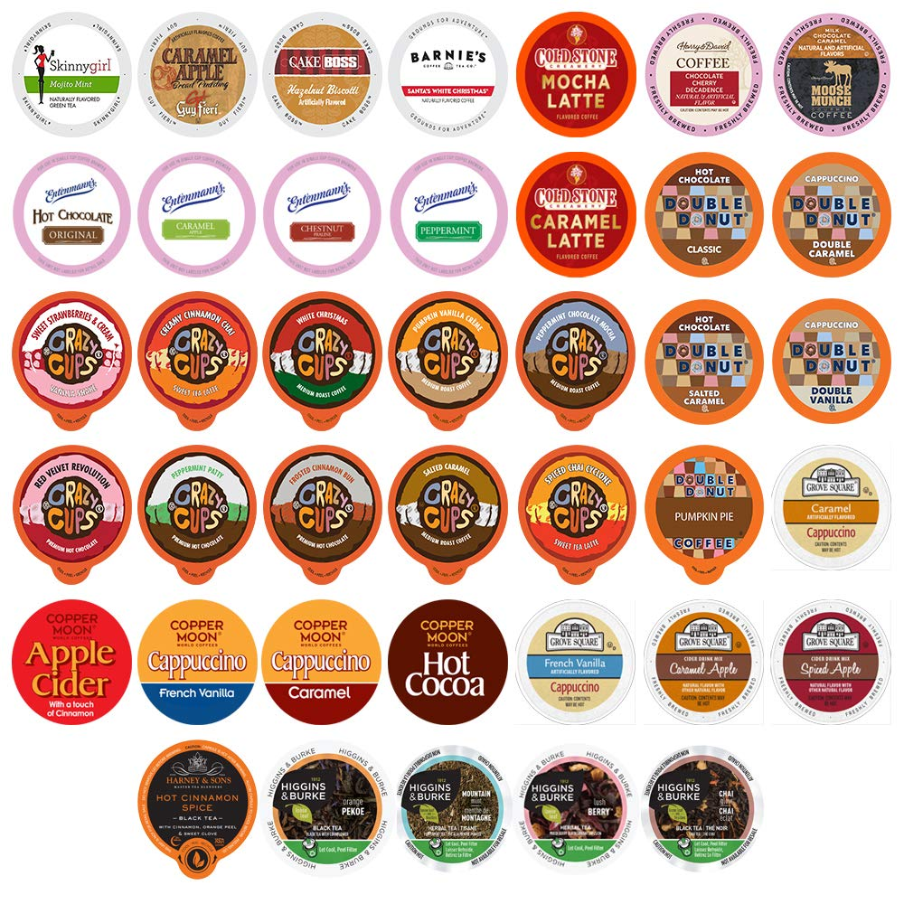 Custom Variety Pack Coffee, Tea, and Hot Chocolate Holiday Winter Sampler - Single Serve Pods for Keurig K-Cup Machines, includes Grove Square and Crazy Cups Hot Cocoa, 40 Assorted Flavors Party Mix