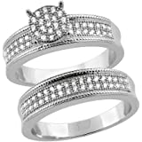 Sterling Silver Micro Pave Cubic Zirconia Round Ladies' Engagement 2-Piece Ring Set, 1/4 inch wide, sizes 5 to 10