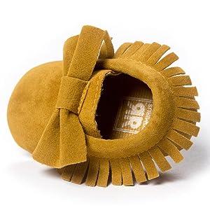 Sagton Baby Crib Tassels Bowknot Shoes Toddler Sneakers Crib Shoes (US:4, Yellow)