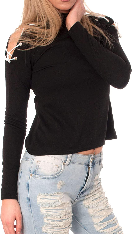 Womens Ladies Tie Lace Up Cold Cut Shoulder Pullover Sweatshirt Top Long Sleeve Eyelet