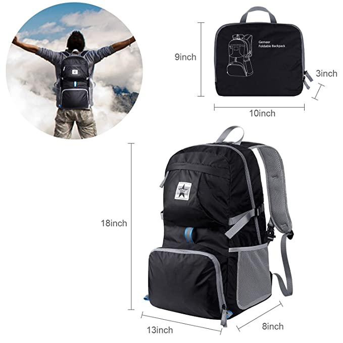 d01830474ef4 Gemeer Foldable Backpack - Lightweight Packable Durable Backpack for  Traveling, Hiking and Camping