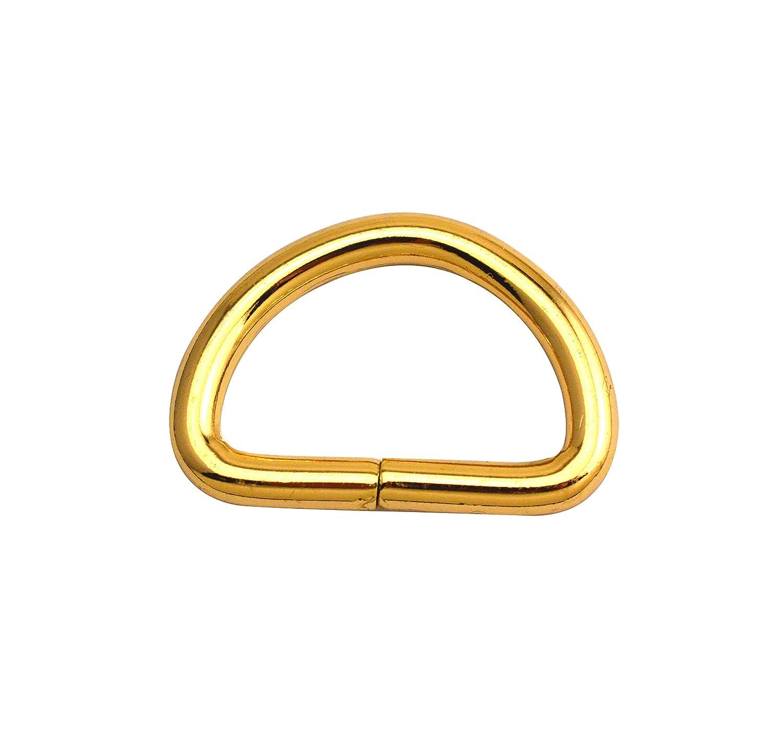 Anillos en D dorados con hebillas en forma de D no soldadas para correas de cincha 5 tama/ños opcionales Inner Diam:0.6,Inner height:0.5,20Pcs Wuuycoky