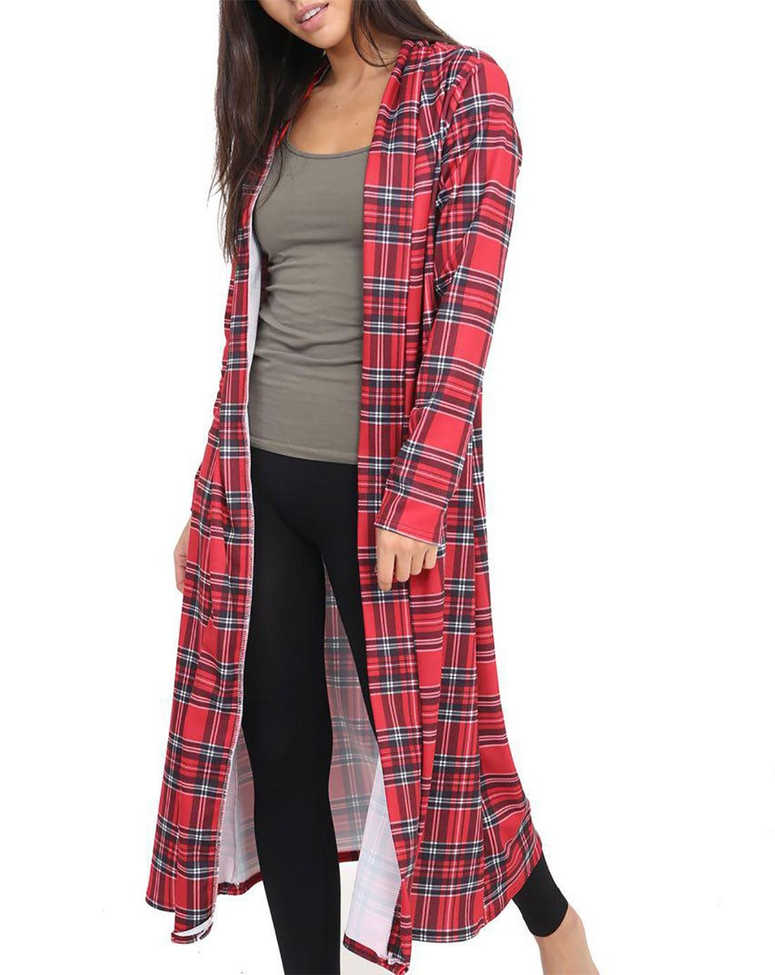 Rimi Hanger Women Long Sleeve Open Front Printed Maxi Cardigan Ladies Crepe Long Duster Coat Red Tartan Print X Large