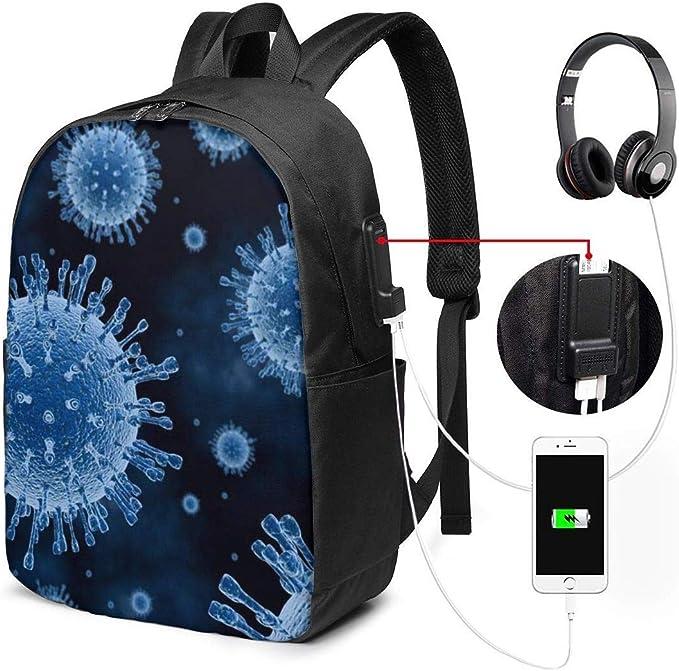 Mochila Unisex con Puerto de Carga USB, diseño de Virus Azul clásico a la Moda General de Negocios: Amazon.es: Equipaje