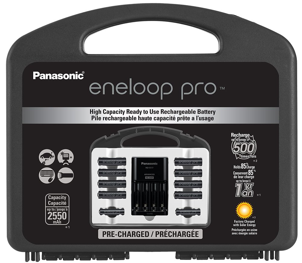 Panasonic K-KJ17KHC82A eneloop pro High Capacity Power Pack, 8AA, 2AAA, withAdvanced Individual Battery Charger and Plastic Storage Case