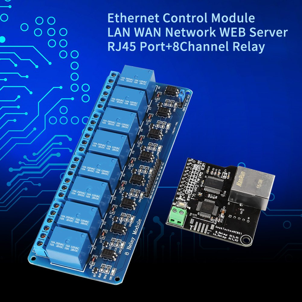 relais /à 8 canaux module de contr/ôle Ethernet LAN R/éseau WAN Serveur WEB Port RJ45 Module de contr/ôle Ethernet avec relais /à 8 canaux