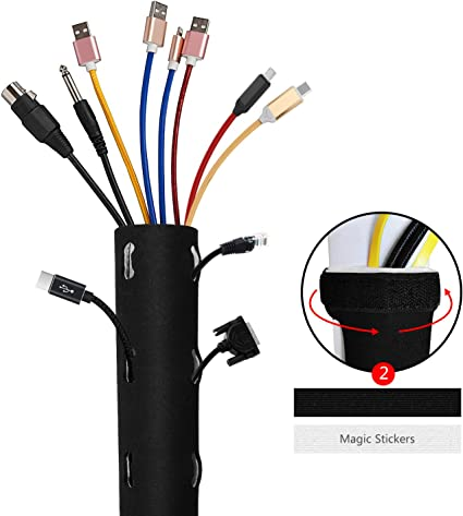 Flexible Neoprene Cable Organizer Wrap for PC TV 60/'/' Cable Management Sleeve