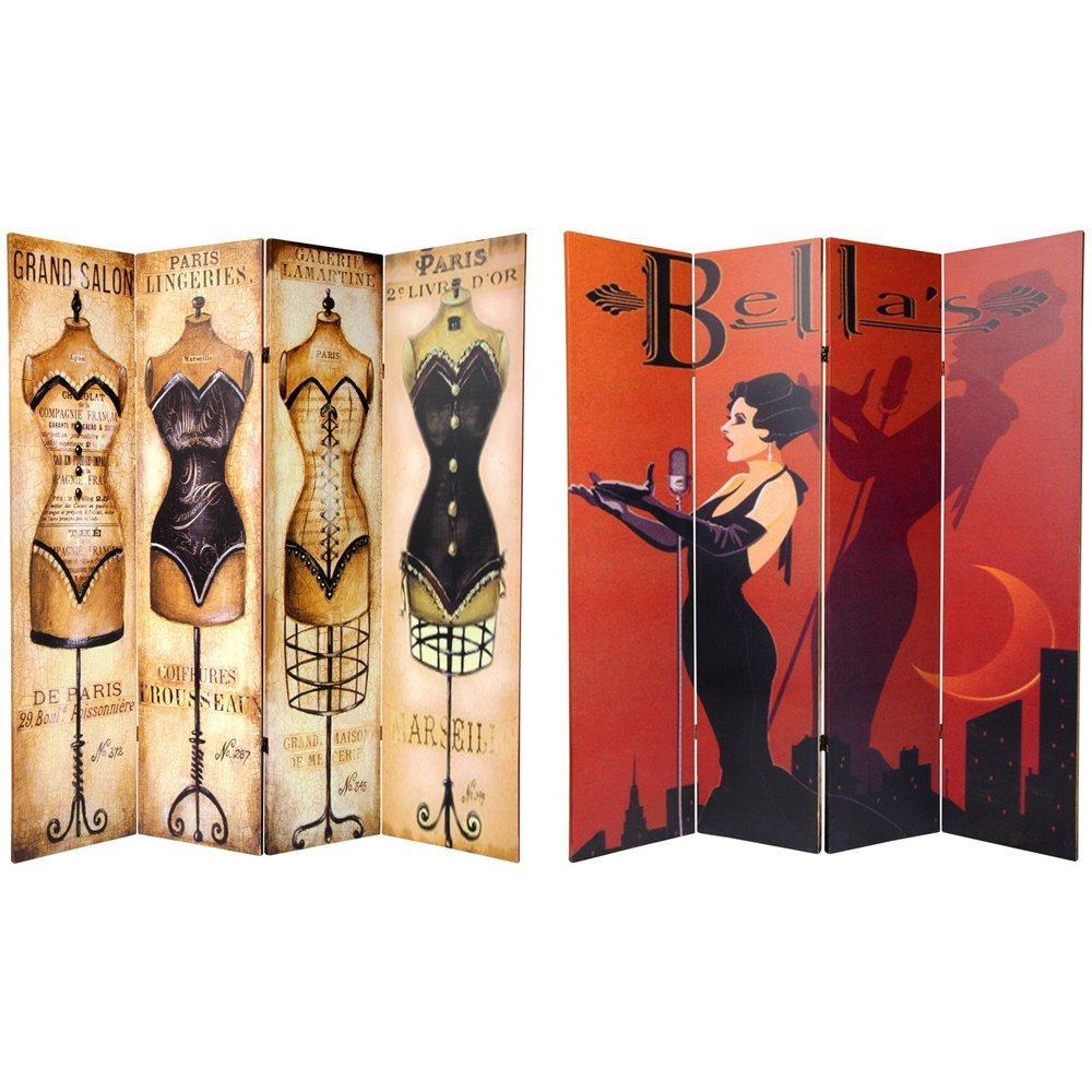 Oriental Möbel druckknopfstiel hoch doppelseitig Mannequin und Sängerin Leinwandbild Raumteiler, 4Panel