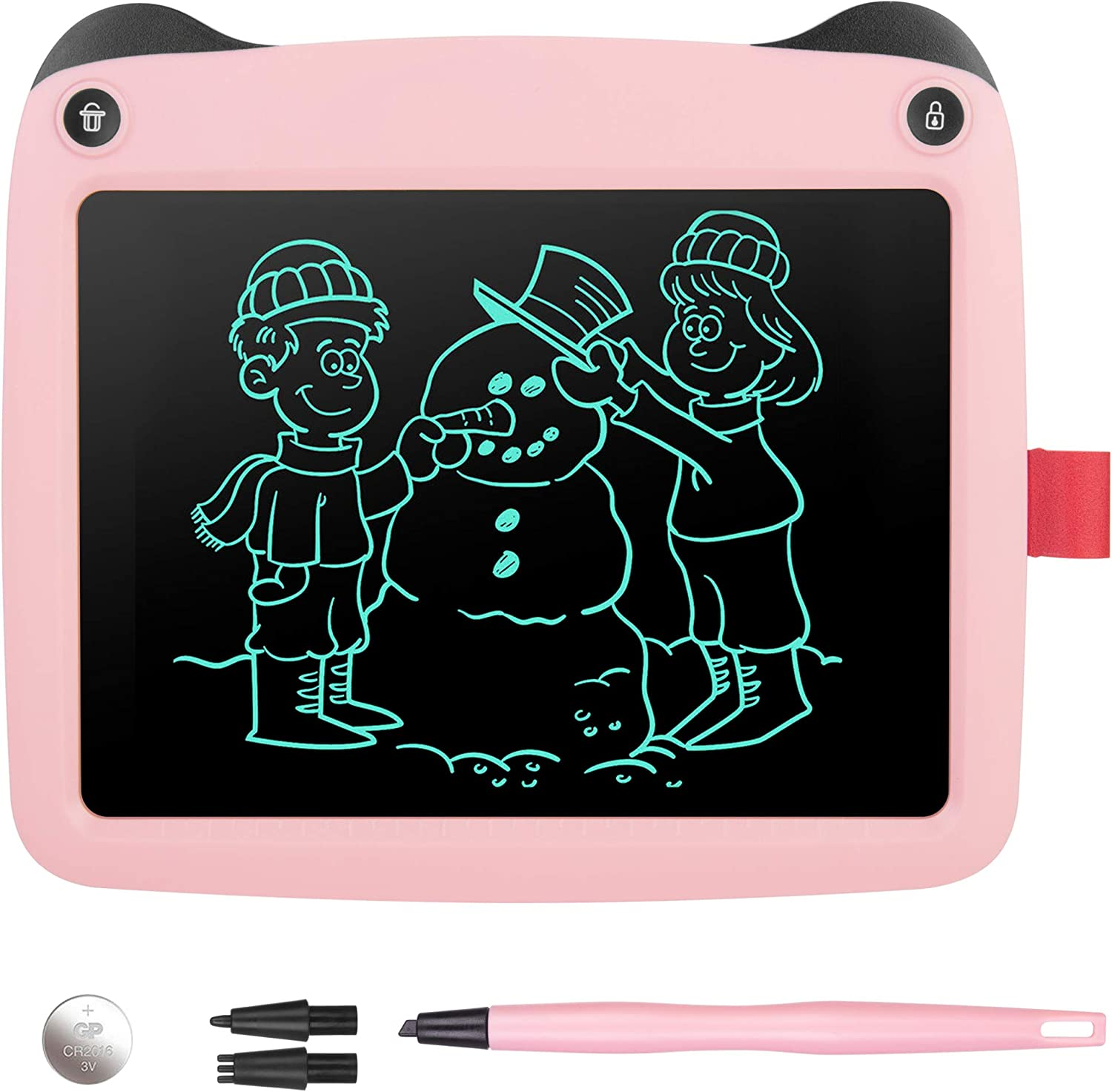 Orange Goodao WP9309 8.5 inch LCD Color Screen Writing Tablet Handwriting Drawing Sketching Graffiti Scribble Doodle Board for Home Office Writing Drawing Color : Pink