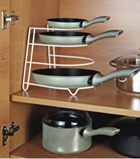 Kitchen Cupboard Frying Pan Rack Shelves Storage Unit Organiser Tray Space Save Plates Rack