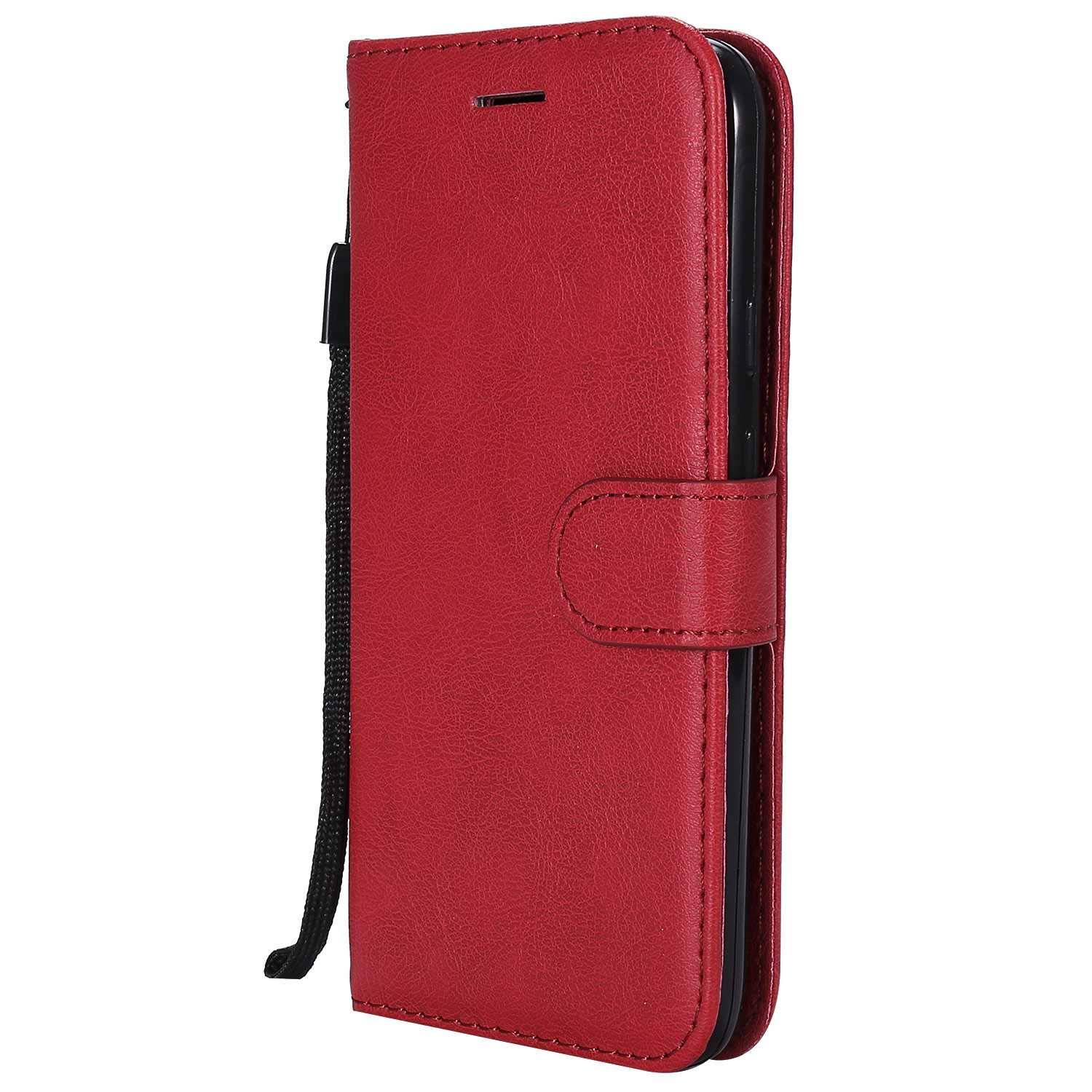 Moto G4 Play Wallet Case, UNEXTATI Leather Flip Case with Magnetic Closure and Card Holders, Anti-Shock Bumper Cover for Moto G4 Play (Red #3)