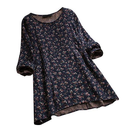 f769a521fc901 Amazon.com  Amacok Women Floral Dress Casual Loose O-Neck Long Sleeve Boho  Mini Dress Plus Size Linen T-Shirt Dress Oversize  Clothing