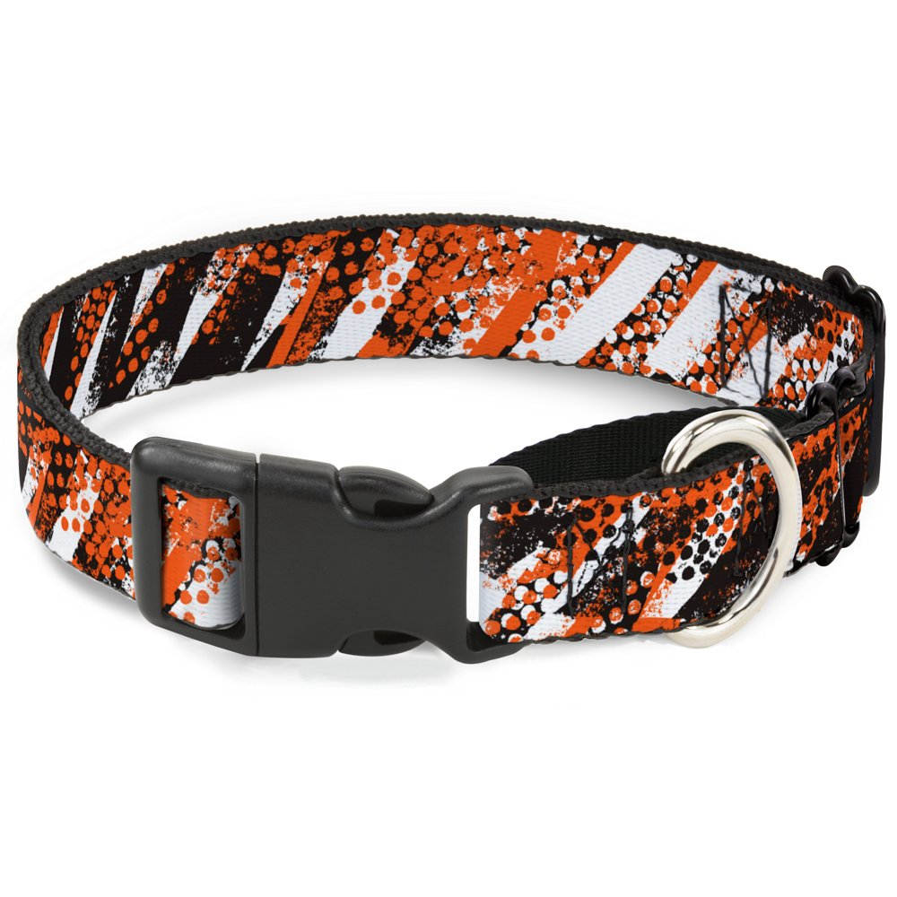 Buckle-Down Grunge Tread orange Martingale Dog Collar, 1.5  Wide-Fits 18-32  Neck-Large