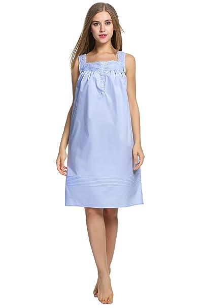 ... HOTOUCH Womens Cotton Sleepwear Soft Nightdress Light Blue S huge  discount d79bc aa731 ... bfbbc1d35