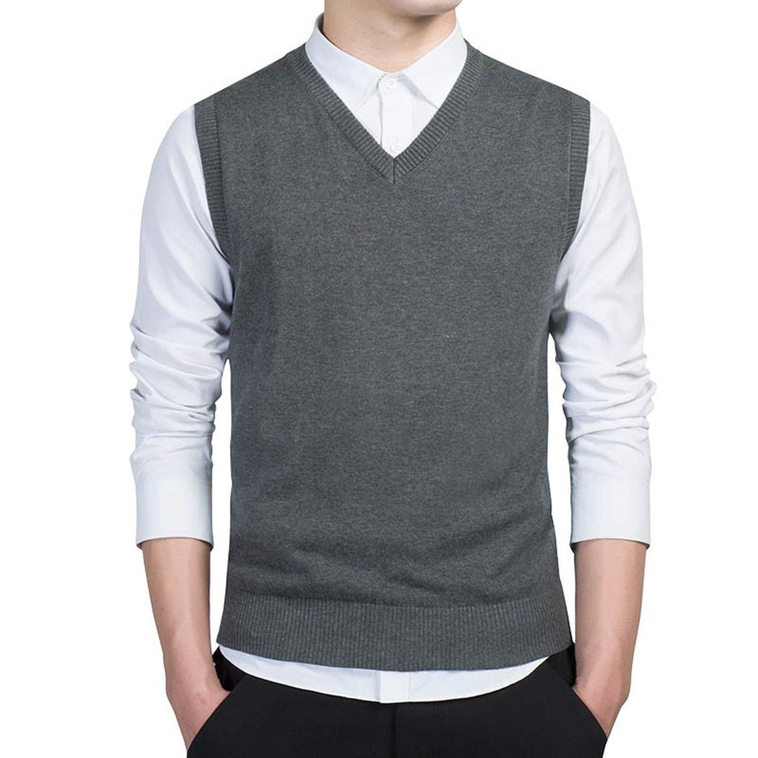 cant be satisfied Pullover Sweater Men Autumn V Neck Slim Vest Sweaters Sleeveless Warm Sweater Cotton