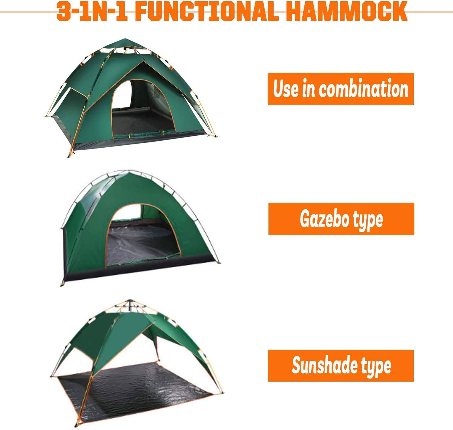 OHMU Outdoor Camping Tent,Family Durable Waterproof Camping Tents Easy Set up Tent Sun Shade 4-5 Person
